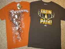 2 DEER HUNTING T-SHIRTS Mens S, BROWNING Buckmark & GROW A PAIR Buck Antlers NEW