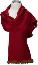 Pashmina  Schal, scarf 100% Cashmere Kaschmir Rot Kaninchen Fell Rabbit fur  Red