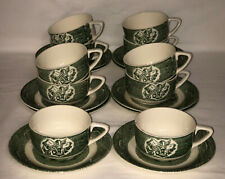 10 Royal *OLD CURIOSITY SHOP*GREEN*CUPS & SAUCERS*
