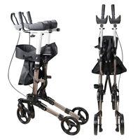 Upright Stand Up Rollator Folding Lightweight Walker+Adjustable Handle Height CE