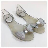 Stuart Weitzman Gemini Glitter Bow Jelly Flats Size 9