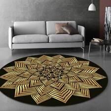 Modern Round Rug Carpet Gold And Black Geometric Pattern None Slip