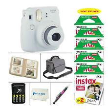 Fujifilm Mini 9 Instant Film Camera (Smokey White)+100 Film Sheets + Accessories
