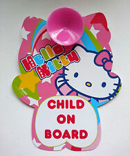 HELLO KITTY CHILD ON BOARD Car Safety Sign PINK RAINBOW Motorists Warning SCREEN