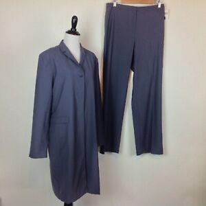 Tahari Pant Suit Trench Jacket Womens 14 Wool Gray