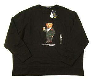 Polo Ralph Lauren Big & Tall Black Martini Polo Bear Fleece Pullover Sweatshirt