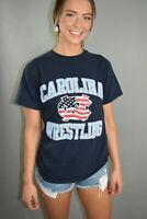 UNC North Carolina Tar Heels Wrestling Champion t shirt Men's Small Navy Blue