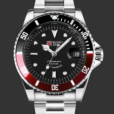 Military Army Mens Watch Mechanical Bezel Red Black Stainless Steel Wrist Strap