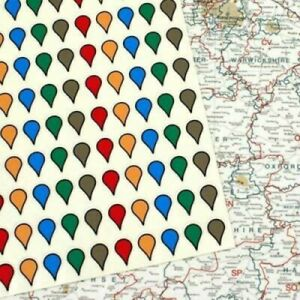 Map Stickers - Gift - 100 Translucent Map Stickers - Mark Where You've Travelled