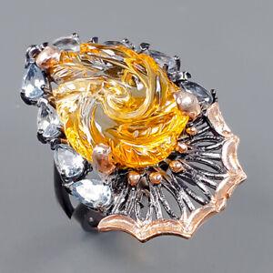 Handmade SET Citrine Ring Silver 925 Sterling  Size 8 /R162889