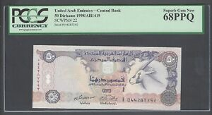 United Arab Emirates 50 Dirhams 1998/AH1419 P22 Uncirculated  Graded 68