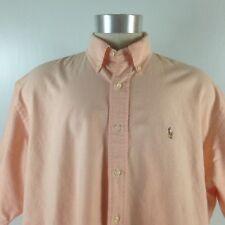 Vtg Ralph Lauren Mens Button Down Blake Short Sleeve Casual Peach Shirt XL