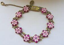 Michal Negrin Swarovski Flower Victorian Bracelet Pink & Rose Color 8.5 Inches