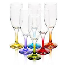 Set Of 6 L.A.V. 6.5oz Champagne Multi Colour Stem Flute Hi-Ball Glasses Holiday