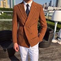Men's Double-breasted Striped Blazer Prom Party Peak Lapel Jacket Regular Tuxedo