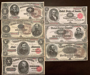 Reproduction Full Set 1890 US Treasury Notes $1-$1000 See Description