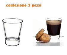 Set 3 Pezzi Bicchierini Bicchieri Per Caffè Amaro Liquori Vetro Trasparente moc