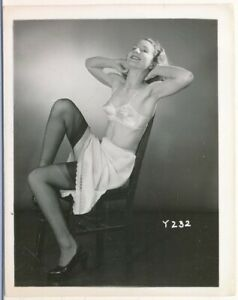 1950s Original 4 x 5 Lingerie Photo Sweet Redhead Slip Black Silk Stockings vv