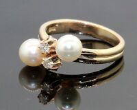 Estate Vintage 14k Gold Double Pearl Round Diamond Cocktail Ring F/VS #20144
