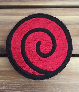 Naruto Uzumaki Clan Logo Sensei Jounin Chunin Red Spiral Symbol Iron On Patch