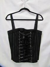 Black Bustier Lace Up Front Pinstriped Sexy Tripp NYC Size L Costume