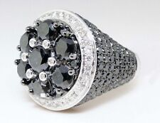 New Mens 10K White Gold Over Black Diamond Solitaire Ring Pinky Ring 11.68 Ct