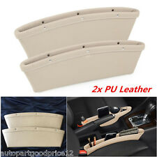 2x Beige PU Leather Car Seat Gap Slit Pocket Catch Catcher Storage Organizer Box