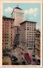Montreal Quebec Canada Postcard Street View McGill and St. James Trolly Old Cars