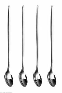 4 Stainless Steel Spoons Long Handle Latte Glass Ice Cream Sundae Coffee DESSERT
