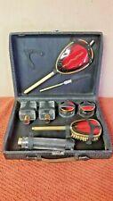 Vintage Red Gold Art Deco Travel Kit Vanity Perfume Make-Up Set in Leather Case