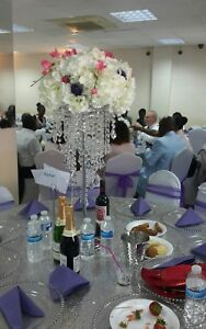 Chandelier centrepiece for hire with flower