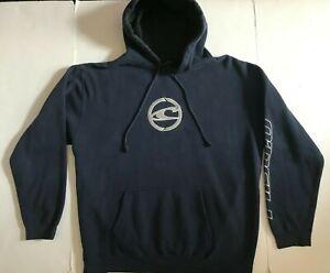 Vtg 90s O'NEILL Surf Navy Cotton Reflective Logo Hoodie Sweatshirt L Rare
