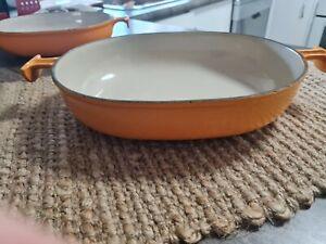 Vintage LE CREUSET French Cast Iron Orange Enamelled Oval Baking Dish 29