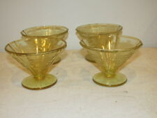 Vintage Set of 4 Federal Glass Madrid Yellow Topaz Footed Desserts VFC
