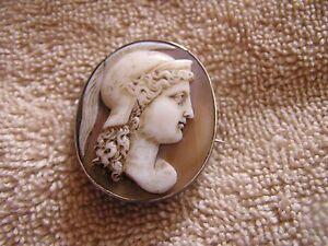 Antique Roman Cameo Art Nouveau Lady Athena Long Hair Helmet