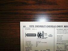 1970 Chevrolet, Chevelle & Chevy Nova SIX Series Models 250 CI L6 Tune Up Chart