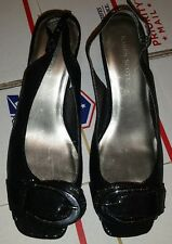 NWT Karen Scott Black Open Toe Slingback with Buckle Detail Heels Size 6 New