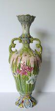 "Antique Japan Ceramic Floral Moriage Gold Accents Vase 16"""
