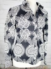Tommy Hilfiger Button Down Shirt Blouse Top White/Navy Paisley Women's Medium