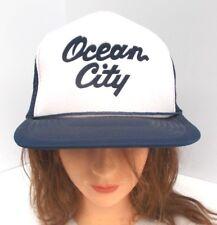 Vintage OCEAN CITY Snapback Trucker Cap Hat Mesh Back Blue White NJ? MD? BOTH!