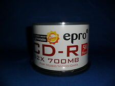 EPRO CD-R DISC - 52x SPEED - FOR VIDEO / DATA - 50 Discs Per Spindle - 1 SPINDLE