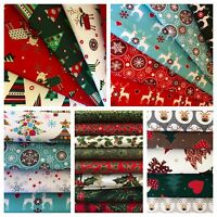 Christmas Fat Quarters Craft Bundle 100% Cotton Fabric Festive Holly Star Tartan