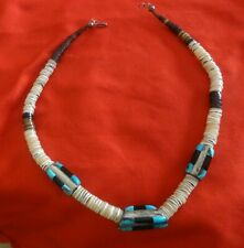 Vintage Graduated Pipestone, Shell, Turquoise and Onyx Heishi Style Necklace