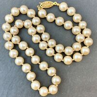 VINTAGE FAUX PEARL NECKLACE HAND KNOTTED BEADED JEWELRY G SILVER CLASP