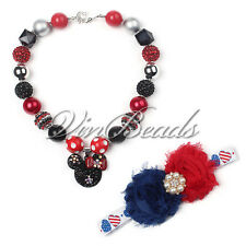 4th of July Mouse Head Pendant Chunky Beads Bubblegum Gumball Necklace Hair Pin