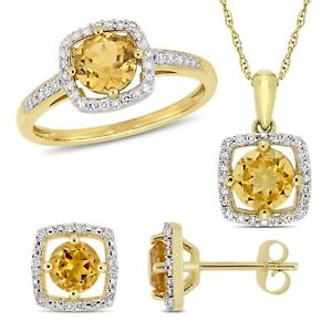 Amour 10k Yellow Gold Citrine & Dia. Floating Halo Necklace, Ring & Earrings Set