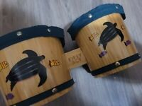 "Bongo Drums Wooden Instrument 10"" Across First Act Discovery Sea Life Pattern"