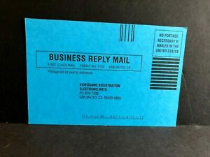 Blue Electronic Arts 820317 1/92 Regstration Card Mail-In Insert ONLY RARE