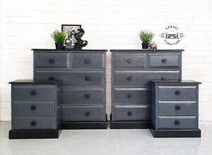 SALE - SALE - Grey and Black Chest Of Drawers and Bedside cabinet