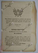 Regio Decreto - Esenzione dazio generi destinati abitanti confine - 1870